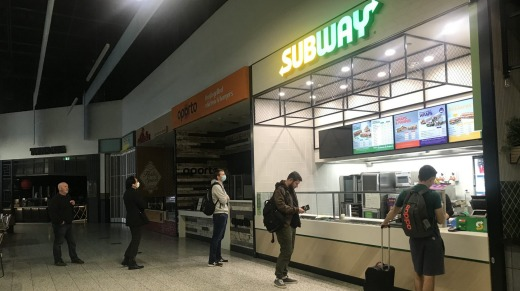 Subway was one of the few outlets open at Melbourne's Terminal 4.
