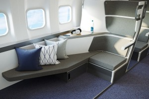 Supplied PR image for Traveller. Zephyr Aerospace seat design offers lie-flat in economy class