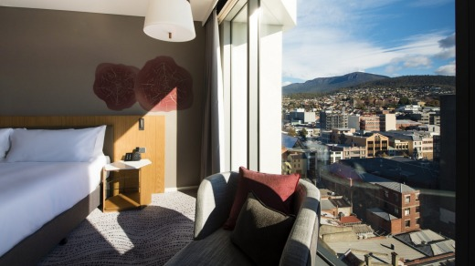 Rooms feature views of the waterfront or Mount Wellington.