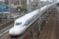 The N700S Shinkansen bullet train goes for a test run between Shinagawa and Shin-Yokohama stations in Tokyo.