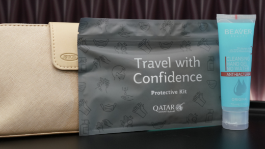 The complimentary protective kit includes a ziplock pouch with a single-use surgical face mask, large disposable ...