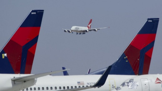 A Qantas Airbus A380 prepares to land at Southern California Logistics Airport in Victorville.