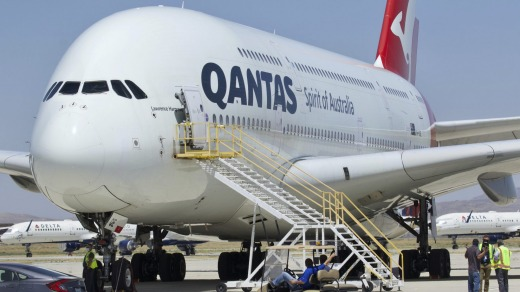 One of the Qantas A380s after arriving in Victorville in July.