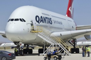 A Qantas Airbus A380 arrives at Southern California Logistics Airport in Victorville, California.
