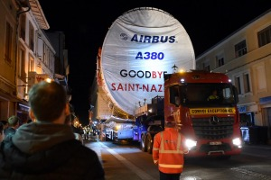 The last convoy of the Airbus A380 drives through Levignac, France.