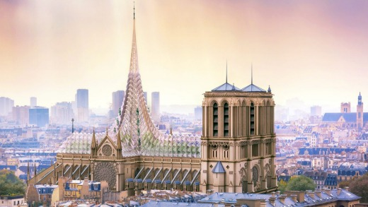 Parisian architects Vincent Callebaut proposed a roof that generates energy and food for Notre-Dame Cathedral