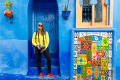 In the blue houses of the old town of Chefchaouen, Tangier.