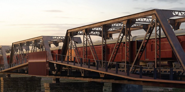 The bridge features an external walkway for room access.