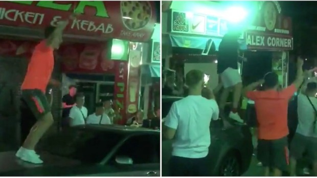 Tourists captured on video in the party strip of Punta Ballena.