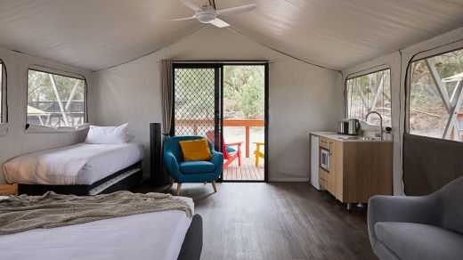 Inside one of the glamping rooms at Port Stephens Koala Sanctuary.