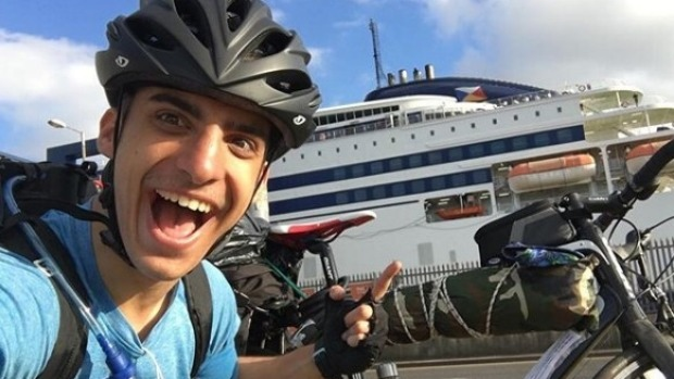 Kleon Papadimitriou before boarding a ferry from England to the Netherlands.