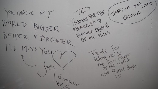 Farewell messages from Qantas staff signed on the underbelly of the 747.