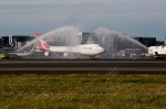 FAREWELL TO THE QANTAS JUMBO JET: The last Qantas 747, registration VH-OEJ, gets a water cannon salute prior to taking ...