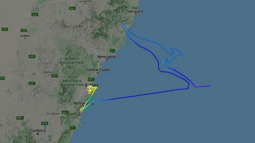 The final Qantas 747's flight path traced the shape of the Flying Kangaroo logo over the Pacific.