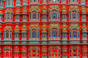 This close-up image of the windows or jharokhas of Hawa Mahal shows the immense talent of the Indian architects,masons, ...