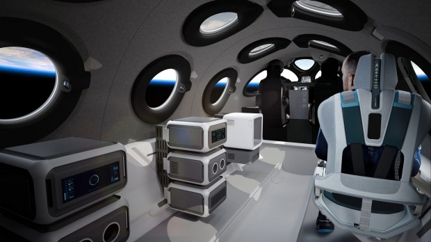 Passengers will strap into six tailored, teal-colored seats and peer out of the cabin's 12 circular windows as they ...