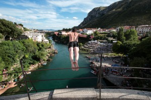 A diver jumps from the Old Mostar Bridge during the 454th traditional annual high diving competition, in Mostar, Bosnia.