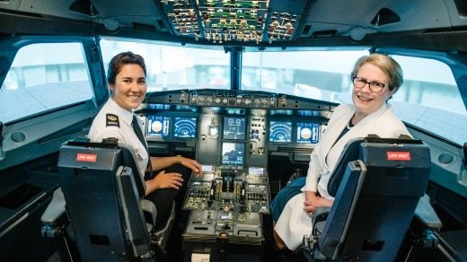 Aviation student Eliza Terry and Vice-Chancellor Professor Geraldine Mackenzie in the University of Southern ...