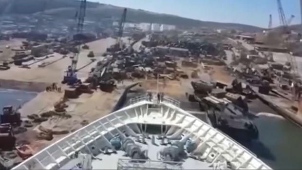 A video shot from the bridge of the MS Monarch shows the ship being beached ahead of its scrapping.