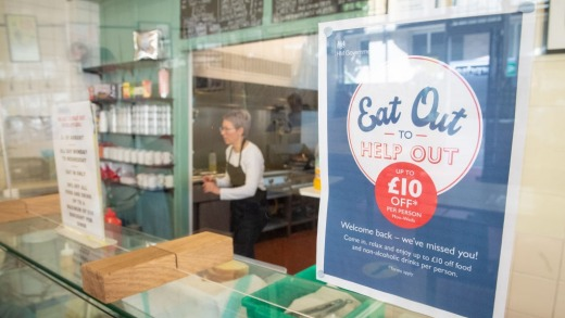 The 'Eat Out to Help Out' scheme in action, at the Regency Cafe in London.