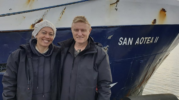 Feeonaa and Neville Clifton, Neville and Feeonaa Clifton by the San Aotea II fishing boat in the Falkland Islands before ...