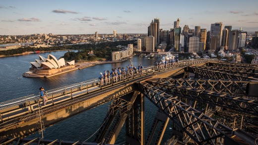 Climbers at the top of the arch are 136 metres above Sydney Harbour.