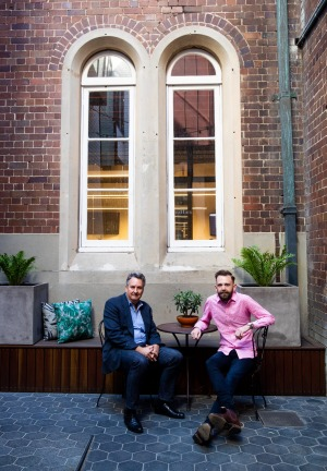 Geoff York, CEO and group director of Crystalbrook Collection Hotels, with  general manager Christopher Greening at the ...