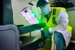 Boeing claims its prototype UV light can 'clean to a high degree – to a disinfecting level – certain pathogens'.
