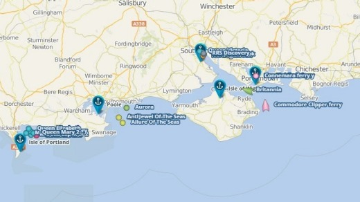 CruiseMapper shows the location of cruise ships off the south coast of Britain.