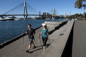 Brent Clark and Giselle Oscuro at Bicentennial Park, Glebe. They have created their own version of the famous Camino de ...