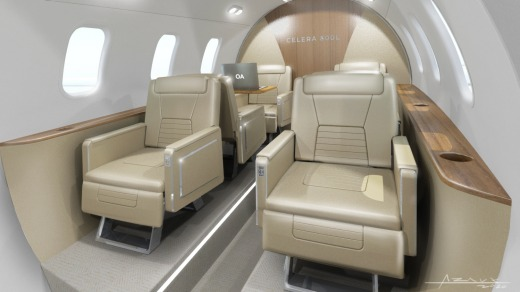 The plane interior will feature six 'first class' seats.