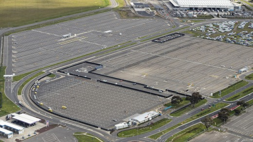 The long term car park at Melbourne Airport sits virtually empty due to the restrictions on travel.