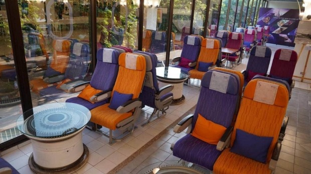 The restaurant is decorated with plane parts and seats to lend it an authentic aircraft feel.