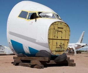 The nose of a scrapped aircraft in a boneyard.