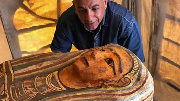 Mostafa Waziri, secretary general of the Supreme Council of Antiquities, with one of more than two dozen ancient coffins.