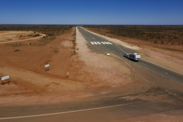 A sealed section of the Silver City Highway north of Broken Hill doubles as an airstrip for the Royal Flying Doctor Service.