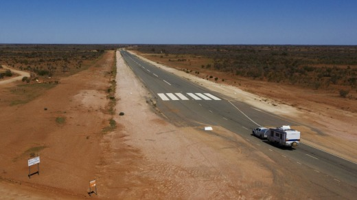 One of the most unusual features of the sealed highway is the fact that part of it further on from Tibooburra now ...