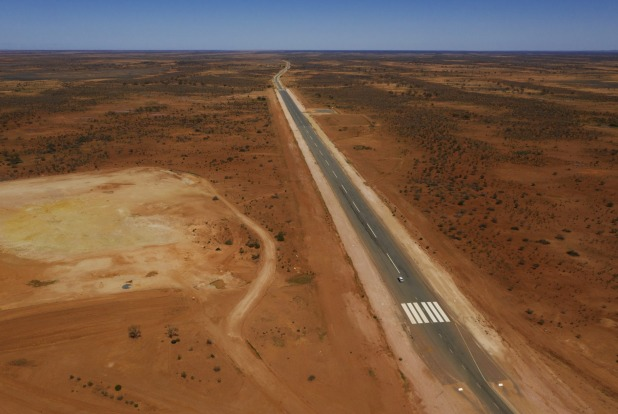A sealed section of the Silver City Highway north of Broken Hill doubles as an airstrip for the Royal Flying Doctor ...