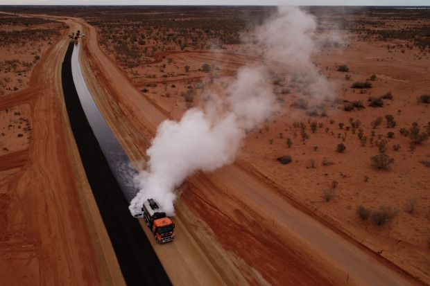 The sealing of the Silver City Highway, NSW.