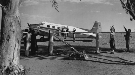 A Flying Doctor plane leaving a homestead after a medical visit.