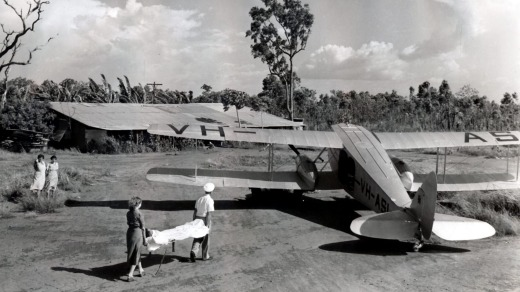 Royal Flying Doctor Service patient retrieval in 1957.