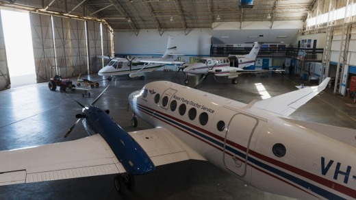 Part of the museum collection is a handful of old RFDS planes, including a Nomad N22C.