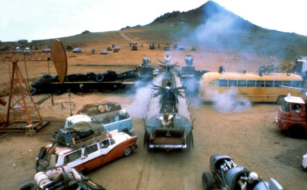 A scene from Mad Max 2. 'The Compound' is being recreated (at three-quarter size) at the Mad Max Museum in Silverton.