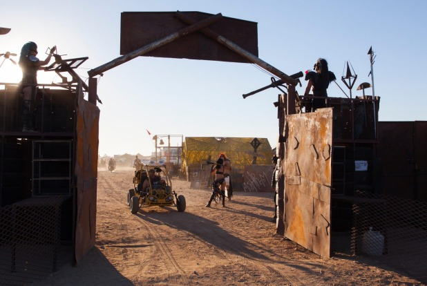 The entrance to the annual Mad Max Wasteland Weekend Festival, California.