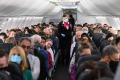 SYDNEY, AUSTRALIA - SEPTEMBER 24: Passengers and crew onboard a Qantas Boeing 737-800, flight number QF735 from Sydney ...