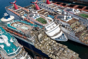 IZMIR, TURKEY - OCTOBER 02: In this aerial view from a drone, five luxury cruise ships are seen being broken down for ...