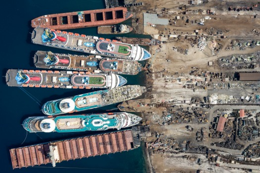 Five cruise ships are seen being broken down for scrap metal at the Aliaga ship recycling port in Izmir, Turkey. With ...