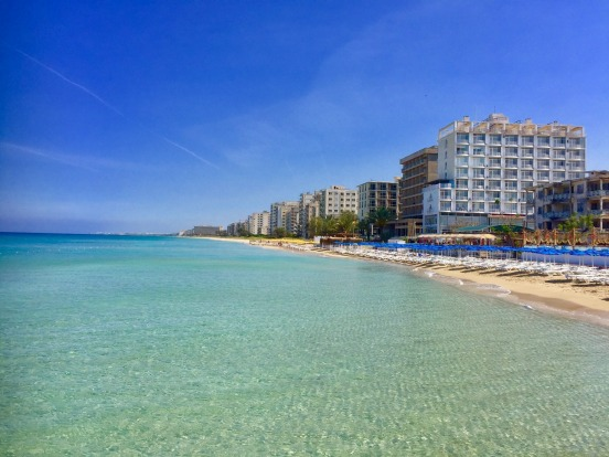 Famagusta beach and abandoned hotels in the abandoned southern quarter of the Cypriot city of Famagusta.
