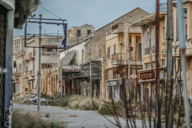 A view of abandoned buildings in Closed Maras (or Varosha in Greek). Closed Maras is a ghost city where entry is ...