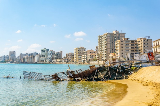 Ruins of hotels at Varosia district of Famagusta, Cyprus.